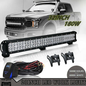 Two Row 28inch 180w Cree Led Light Bar Spot Flood Combo For Ford 30 32