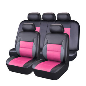 Car Pass Breathable Pink Color Sandwich Universal Fit Full Set Car Seat Covers