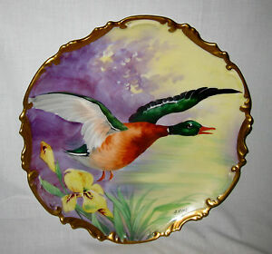 Limoges France Hand Painted Charger With Bird 11 5 Signed