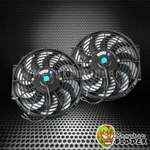 2x Universal Slim 14 Inch Push Pull Electric Radiator engine Cooling Fan Black