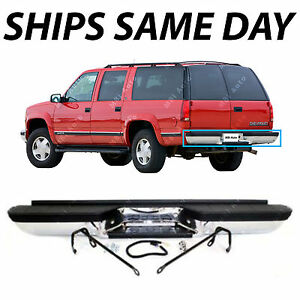 New Chrome Complete Rear Bumper For 1993 1999 Chevy Suburban Tahoe Gmc Yukon
