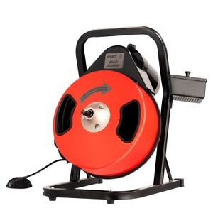 50ft Portable Electric Compact Drain Pipe Cleaning Sewer Snake Auger Power Feed