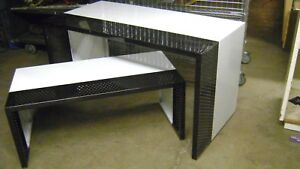 Modern Industrial Urban Retail Black White Metal Display Nesting Tables Set 2