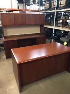 Executive Set Desk Credenza Hutch By Kimball Office Furn In Cherry Laminate