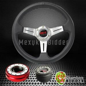 Silver Deep Dish Steering Wheel Red Quick Release For Acura Integra 1986 1989