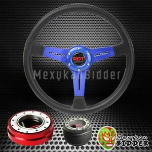 14 Black Blue Steering Wheel Red Quick Release Hub For Acura Integra 86 89