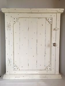 Primitive French Country Farmhouse Aged Wood Shabby Chic Spice Medicine Cabinet
