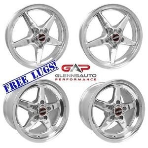 Race Star Drag Pack 15x10 17x4 5 For 79 04 Mustang 5 lug polished 4 Wheel Kit