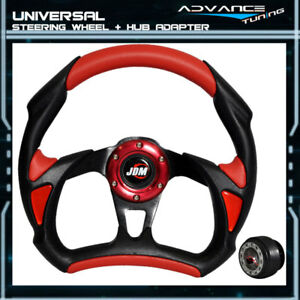Fit 320mm Battle 6 Hole Racing Steering Wheel Jdm Horn Hub Adapter Black Red Pvc