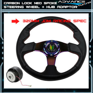 320mm 6 Bolts Cf Look Racing Steering Wheel Neo Chrome Spoke Horn Hub Adaptor