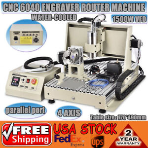 Desktop 4 Axis Cnc Router 6040 1 5kw Spindle Engraving Milling Carving Machine