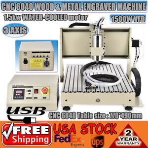 110v Usb 1 5kw Vfd Cnc 6040 3 Axis Wood metal Working Engraving Machine Router