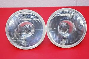 H4 Headlights Pair 7 Round 180mm Sealed Beam Conversion Kit E Code City Lights