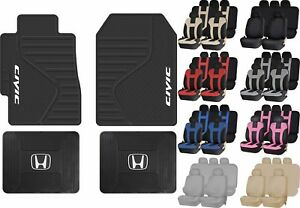 13pc All Weather Heavy Duty Rubber Floor Mats Racing Seat Covers For Honda Civic