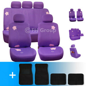 Exquisite Floral Car Seat Covers W Black Carpet Mats Combo