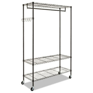 Alera Gr364818bl Steel Wire Open Frame Garment Rack With Rack And Hooks New