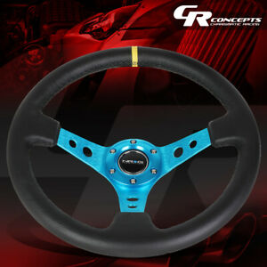 Nrg 350mm 3 deep Dish New Blue Spoke Leather W stripe Steering Wheel Replacement