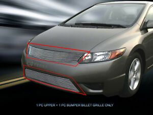 Polished Billet Grille Grill Combo For Honda Civic Coupe 2006 2008