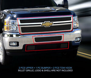 Black Billet Grille Grill Combo For Chevy Silverado 2500 3500 2011 2014