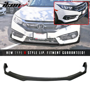 Fits 16 18 Honda Civic 10th Gen Type R Style Front Bumper Lip Black Pu