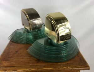 Vintage Lightolier Brass Glass 1980s Wall Scones Light Fixtures