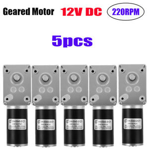 5x 12v Dc 220rpm Pm Dc High Speed Worm Gear Motor With Speed Reducer Gearbox Tg