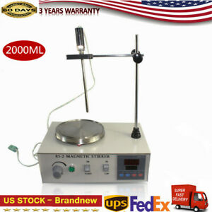 85 2 Magnetic Stirrer Hot Plate Digital Heating Mixer 110v 2000ml Us Shipping