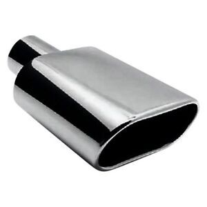 Exhaust Tip Stainless Steel Oval Rolled Edge Angle Cut Weld On Polished Exhaust