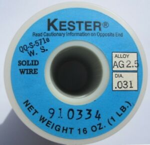 Kester Solid Wire Solder Sn98 Ag2 Silver tin 031 1 lb Clearance