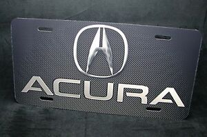 Acura Metal Novelty License Plate Tag For Cars Carbonfiber Look Background