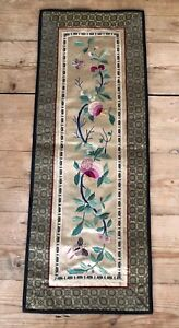 Antique Vintage Chinese Asian Floral Silk Embroidery Panel 24 5 X 9 25 Textile