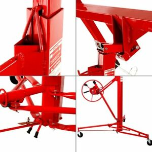 Lift Drywall Panel Jack Lifter Hoist 11 Wall Dry Caster Rolling Construction Red