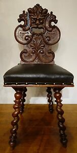 Antique French Renaissance Carved Hall Chair Spool Legs Gorgeous Carved Oak