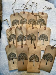 Large Primitive Tree Of Life Hang Tags Lot Of 12 Coffee Stained