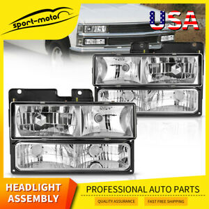 Chrome Housing Headlights For 1994 1998 Chevy C10 C K 1500 Silverado Replacement