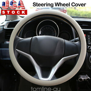 Steering Wheel Cover Beige 14 15 Non Slip Silicone Universal Leather Texture