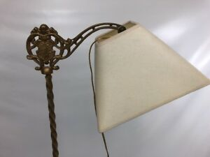 Antique Cast Iron Art Deco Gold Bridge Arm Floor Lamp Figural Leviton