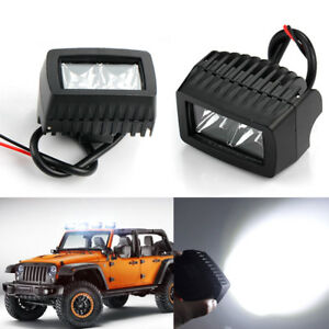 Pair Of 20w Square Spot Work Light Driving Fog Led Lamp Ute Atv Suv 4wd Offroad