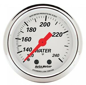 Autometer 1332 Arctic White 2 1 16 Mech Water Temperature Gauge 120 240 Degree