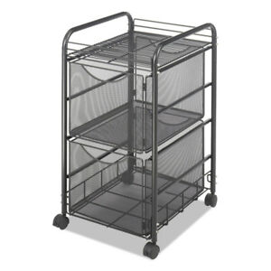 Safco Onyx Mesh Mobile Double File one shelf 15 3 4 X 17 X 27 black 5212bl New