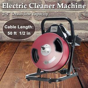 Electric Drain Cleaner Drum Auger Snake 1 To 4 Pipes With Built in Gfci