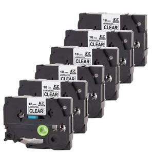 6pk Compatible For Brother Label Tape Label Maker Tze 241 18mm Laminated P touch