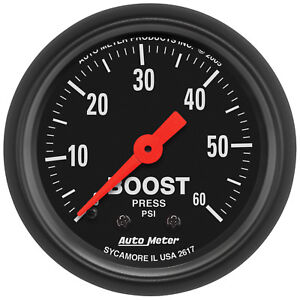 Autometer 2617 Z Series 2 1 16 Boost Gauge 0 60 Psi Mechanical