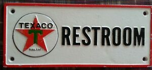 Texaco Restroom Cast Iron Sign Man Cave Garage Office Gas Station Ships Free