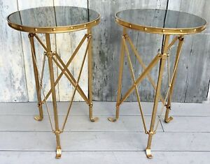Vintage Pair French Directoire Black Marble Gilt Metal Gueridon Side Tables
