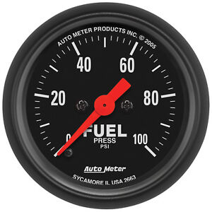 Autometer 2663 Z Series 2 1 16 Fuel Pressure 0 100 Psi Electrical