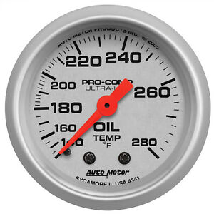 Autometer 4341 Ultra Lite 2 1 16 Oil Temperature 140 280 Degrees Mechanical