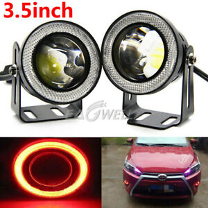 Pair 3 5 Inch Cob Led Fog Light Projector Car Red Angel Eyes Halo Ring Drl Lamp