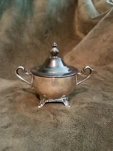 William Rogers Vintage Silver Plated Footed 3 Diameter Sugar Bowl