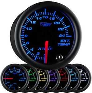 52mm Glowshift Black 7 Color Pyrometer Pyro Egt Gauge Kit With Probe Gs C708
